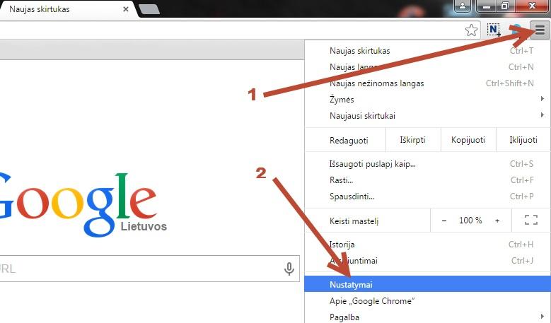 Google Chrome nustatymai
