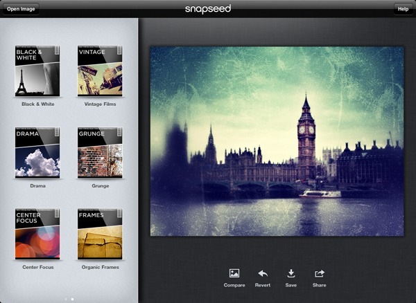 Snapseed nuotraukų redagavimo programa