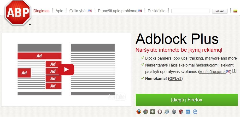 Kaip užblokuoti reklamą Firefox naršyklėje?