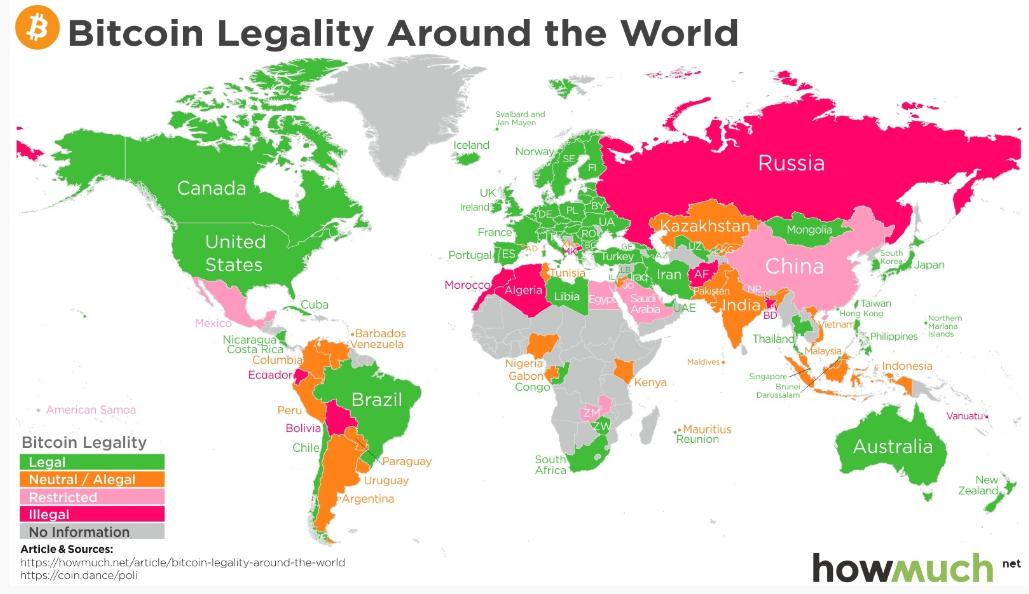 Operacijų su bitkoinais legalumas įvairiose valstybėse