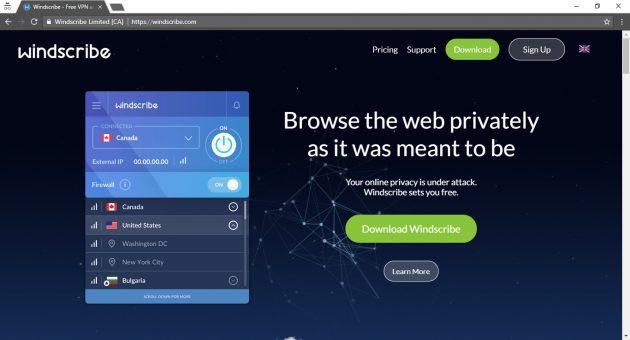 Windscribe nemokamas VPN