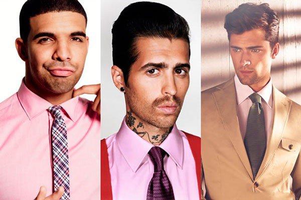 Kaklaraiščio derinimas prie rožinių marškinių