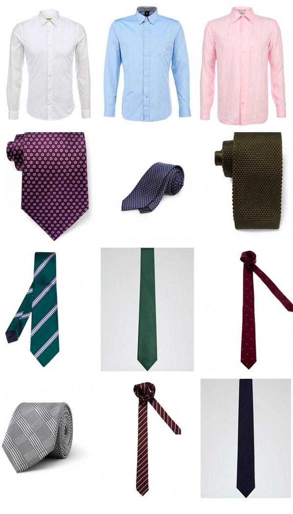 Kaklaraiščio derinimas prie baltų, mėlynų ir rožinių marškinių