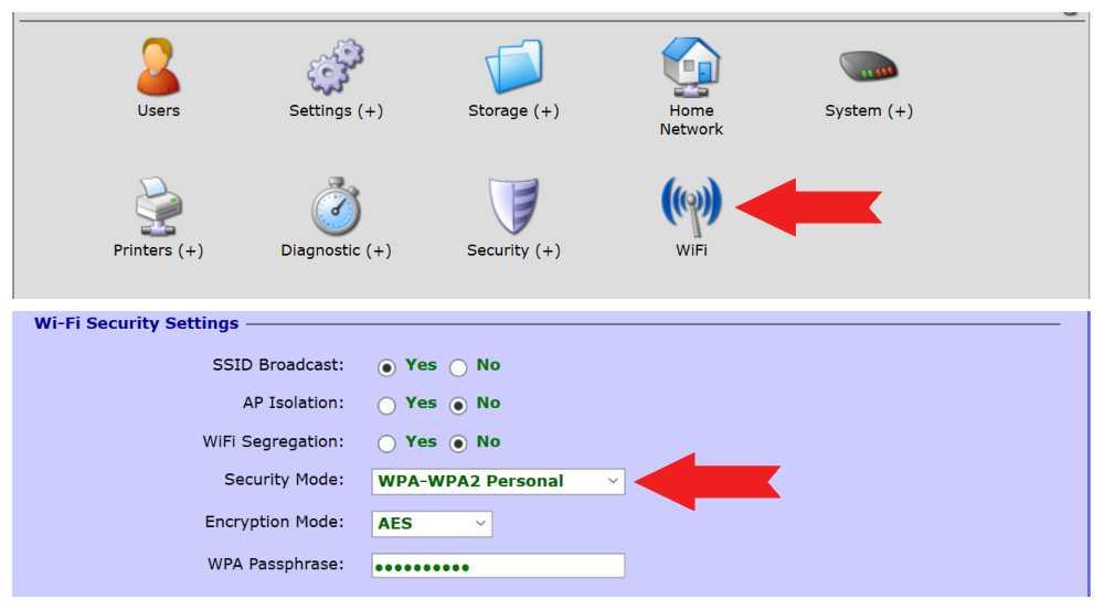WiFi nustatymai