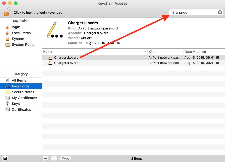 WiFi slaptažodis Mac OS nustatymuose