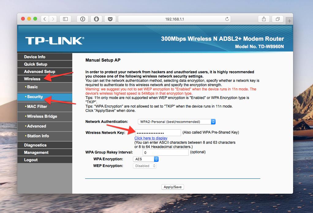 WiFi slaptažodis routerio nustatymuose