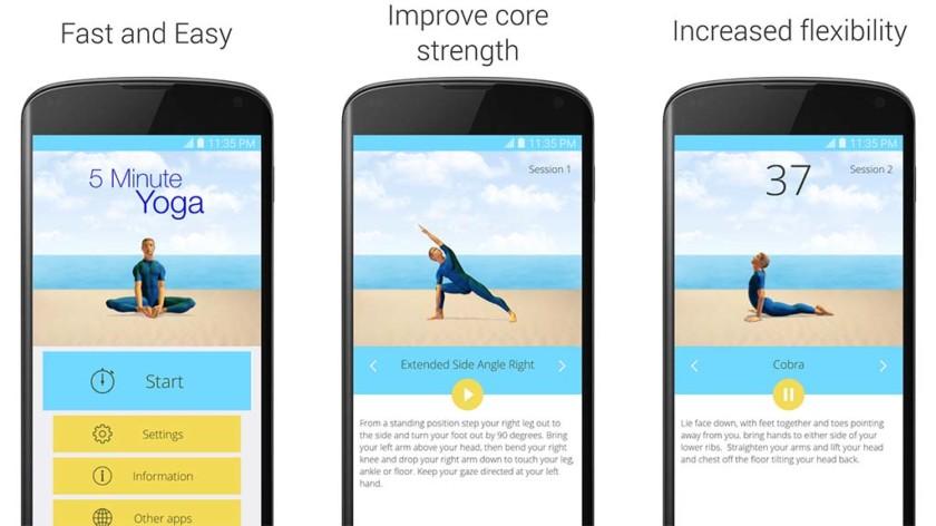 Nemokamos programėlės jogos užsiėmimams: 5 Minute Yoga