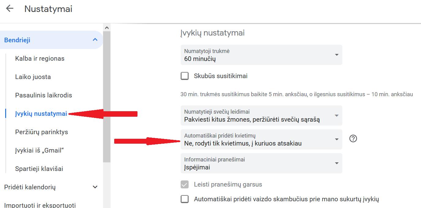 Kaip išjungti spaminius pranešimus Google Kalendoriuje