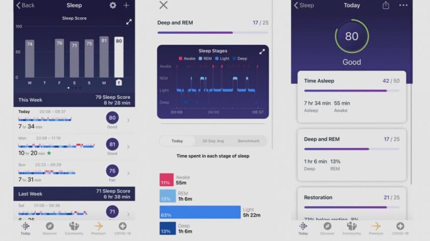 Miego stebėjimas Fitbit išmaniosios apyrankės programėlėje